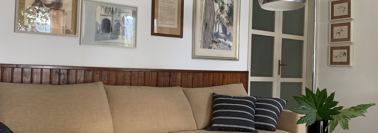 Nel living di questa casa degli anni 60' domina alle pareti una bella boiserie in legno. Tra i molti quadri della padrona di casa è stata individuata una selezione declinata sugli azzurri suggerita dal tappeto a righe in lana. L'effetto voluto rinnova lo spazio dedicato al relax davanti al lago, mixando mobili anni 80', vintage e piccoli tavoli etnici.